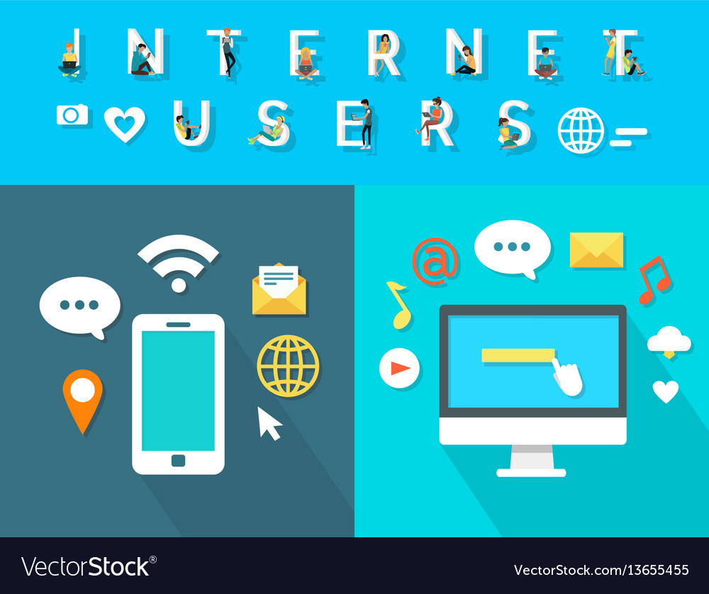 Internet users of modern electronic equipments vector image