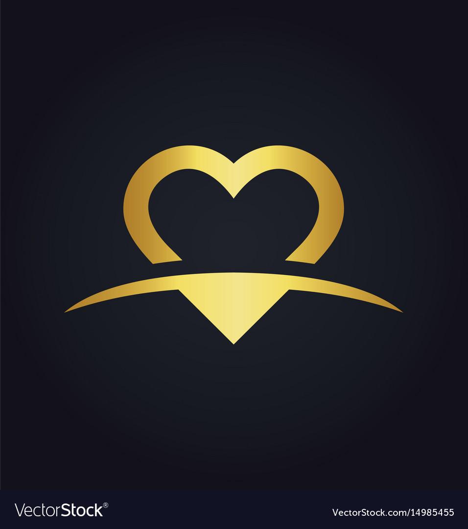 Love heart valentine gold logo