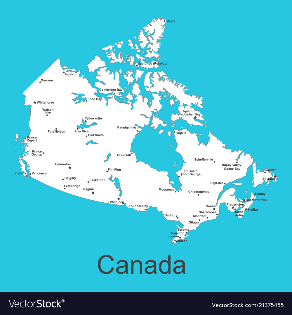 Calgary On Map Of Canada.Map Of Canada With Cities On A Blue Background