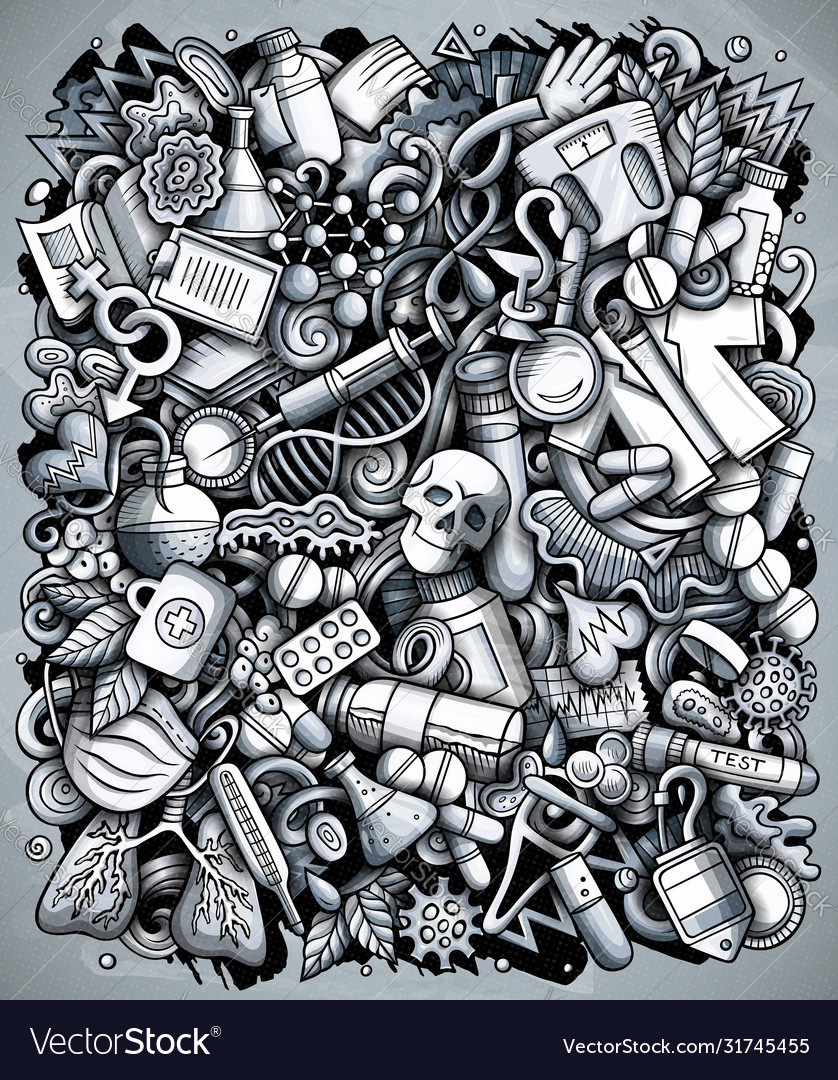 Medicine hand drawn doodles