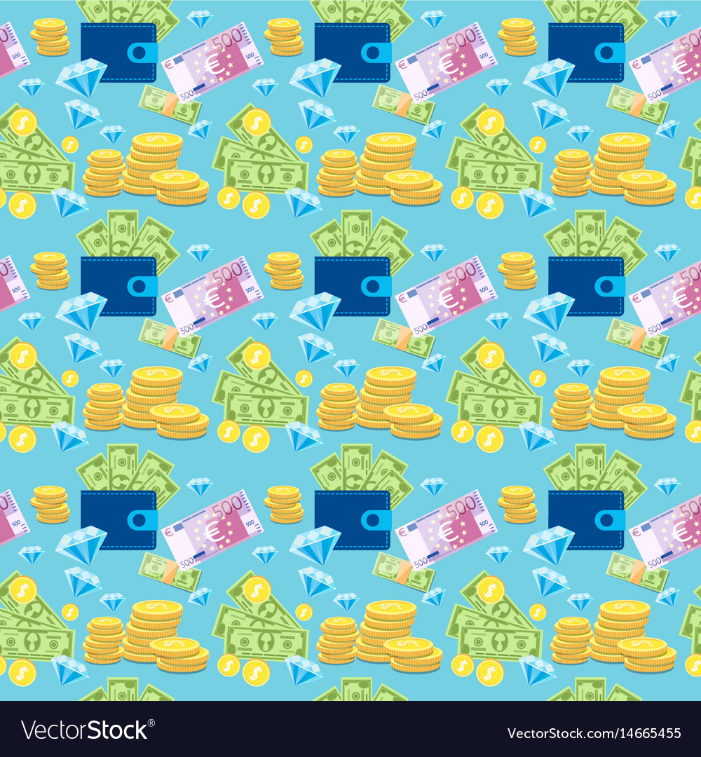 Money coin currency seamless pattern
