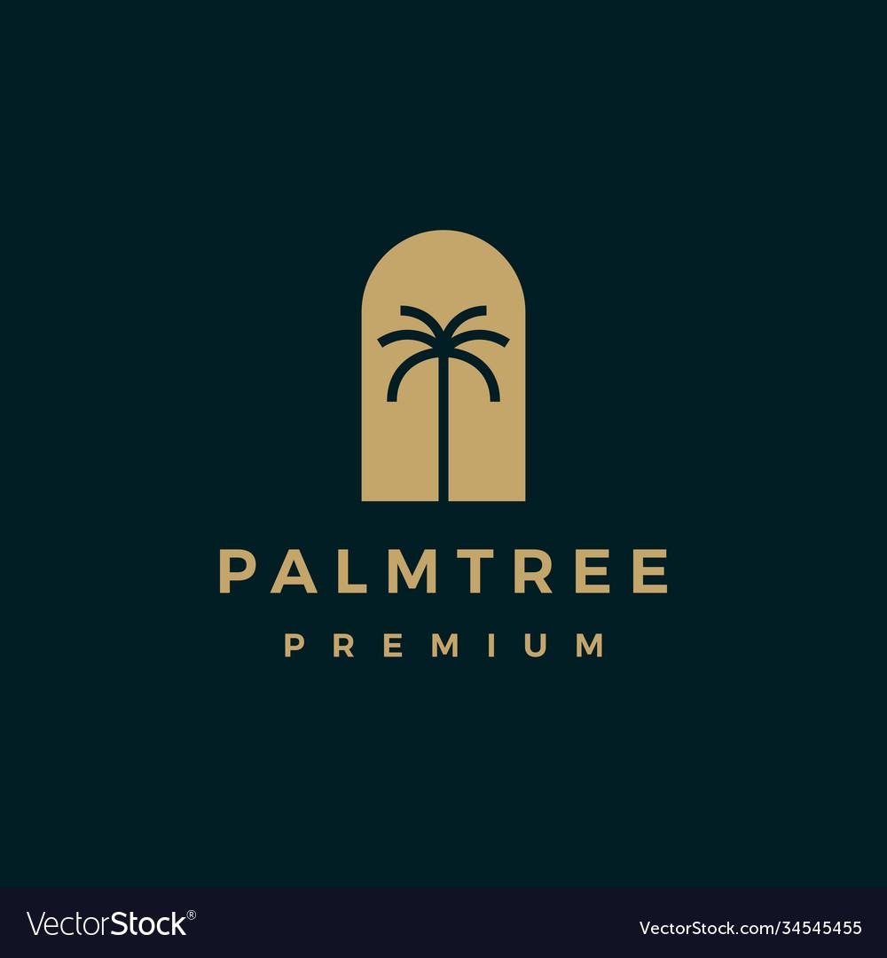 Palm tree gold logo icon