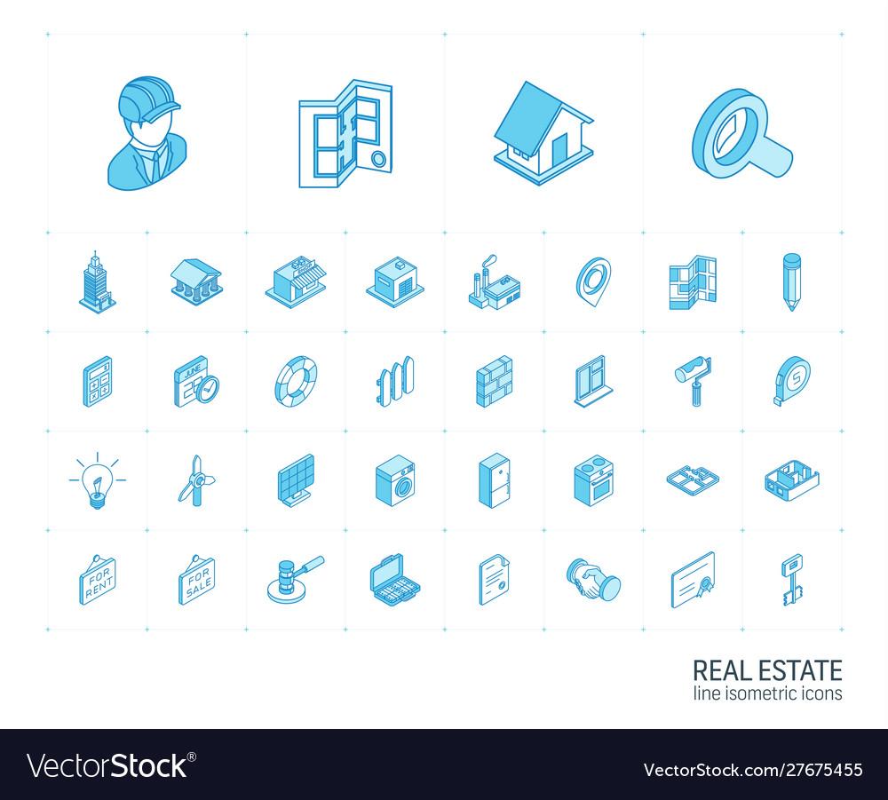 Real estste and rent apartment isometric line