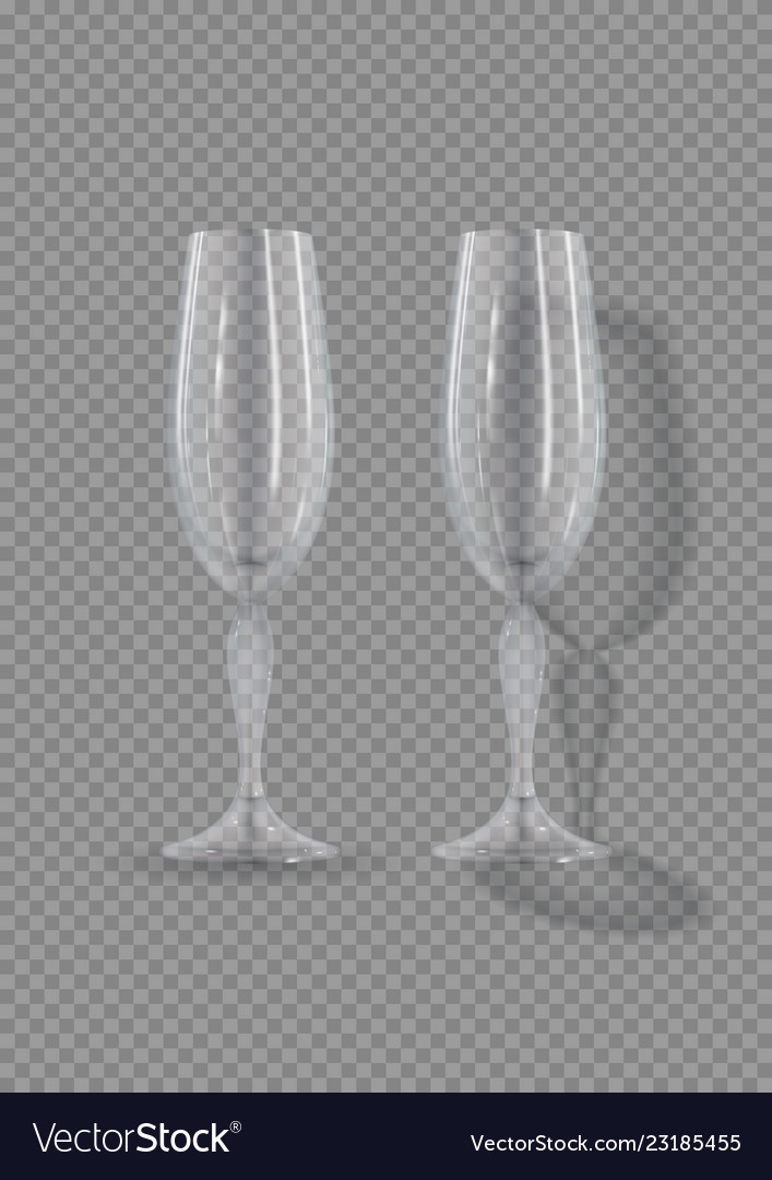 Realistic empty glasses champagne