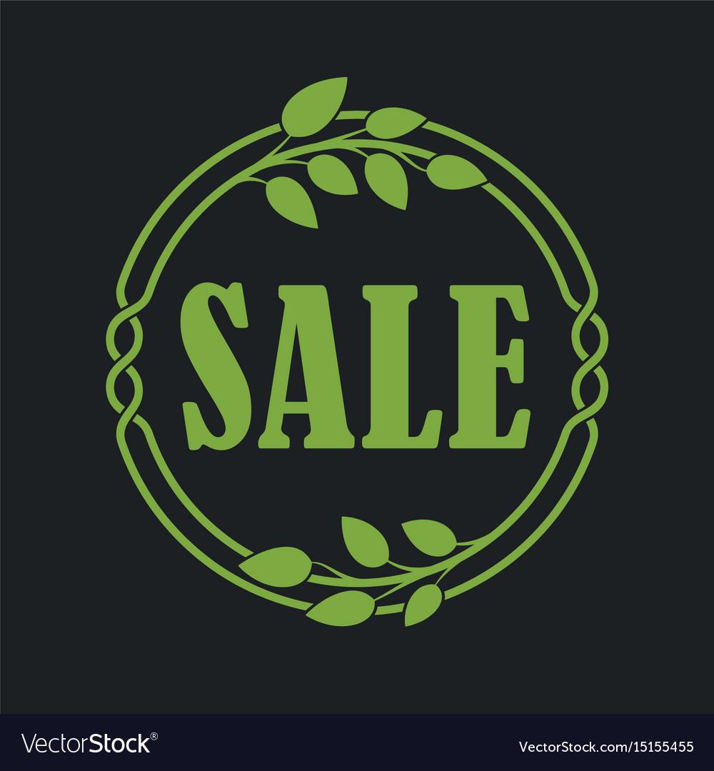 Sale label price tag banner badge in flora design vector image