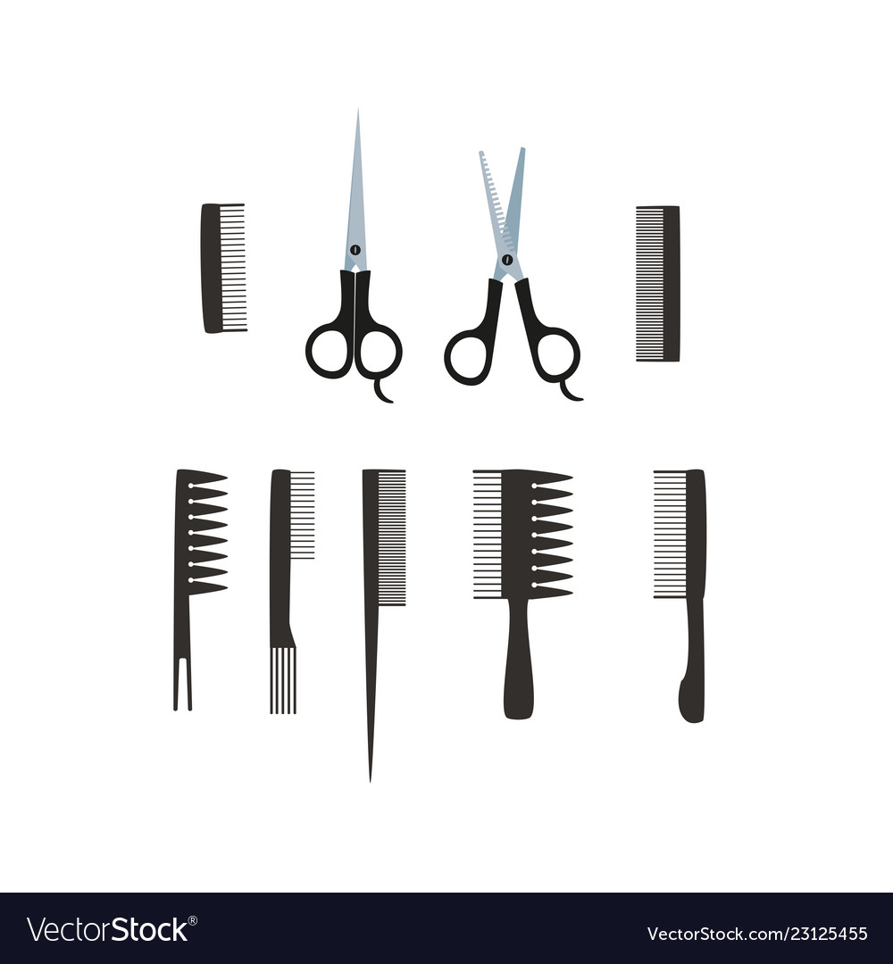 Scissors and combs for hair salon