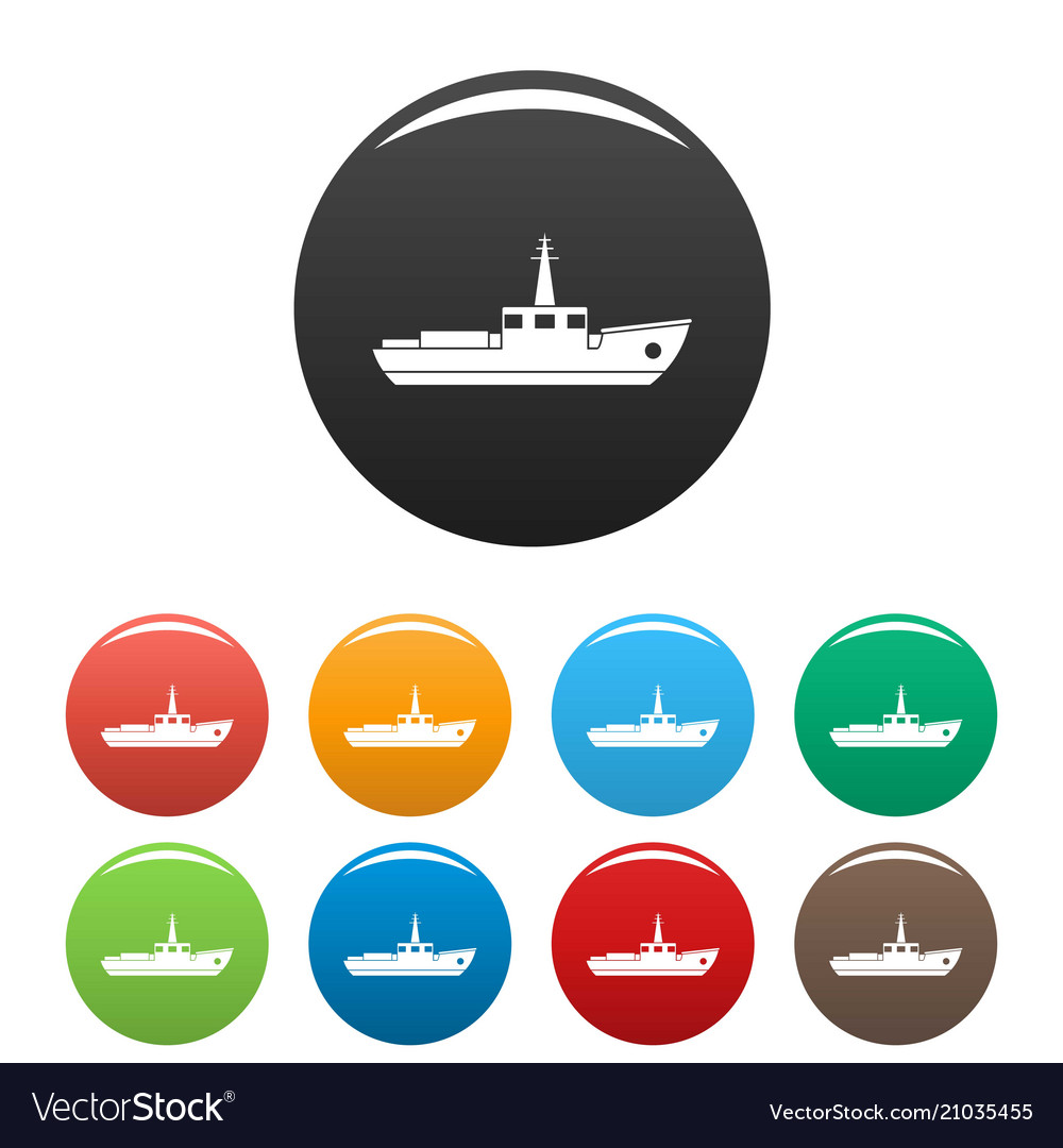 Ship fishing icons set color