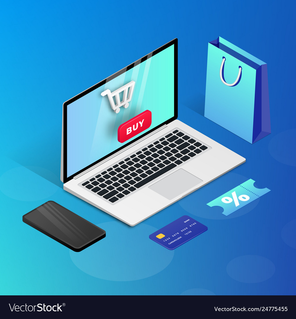 Shopping online laptop blue isometric