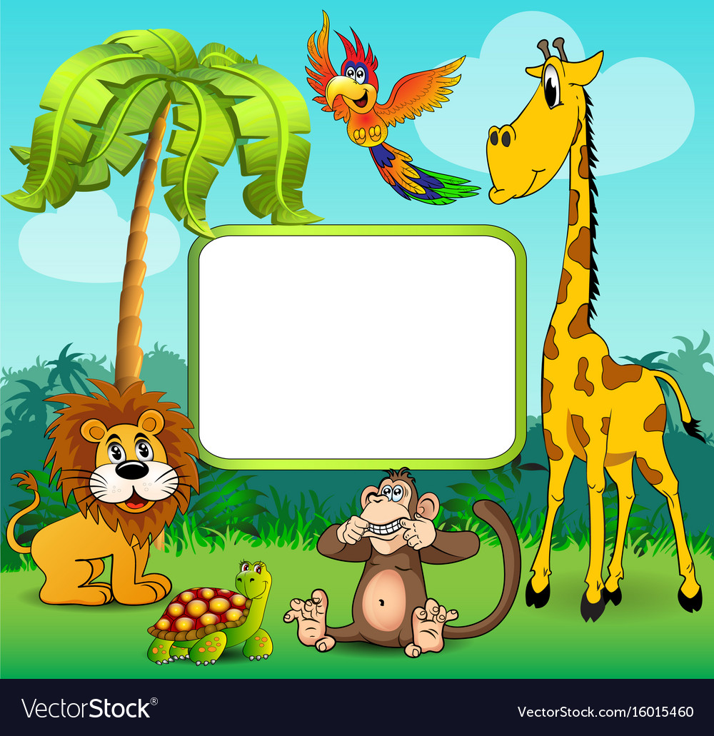 Background with giraffe monkey lion and turtle on