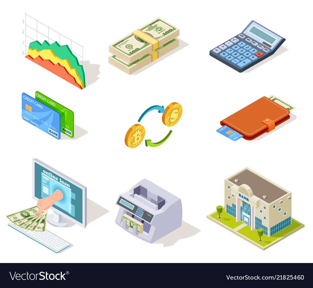 Bank isometric icons internet banking money and
