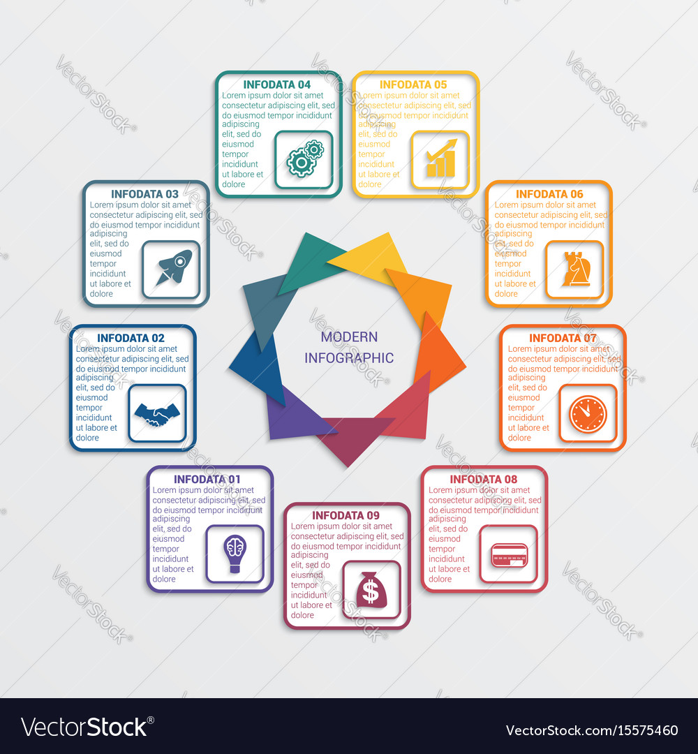 Colour triangles 9 options vector image
