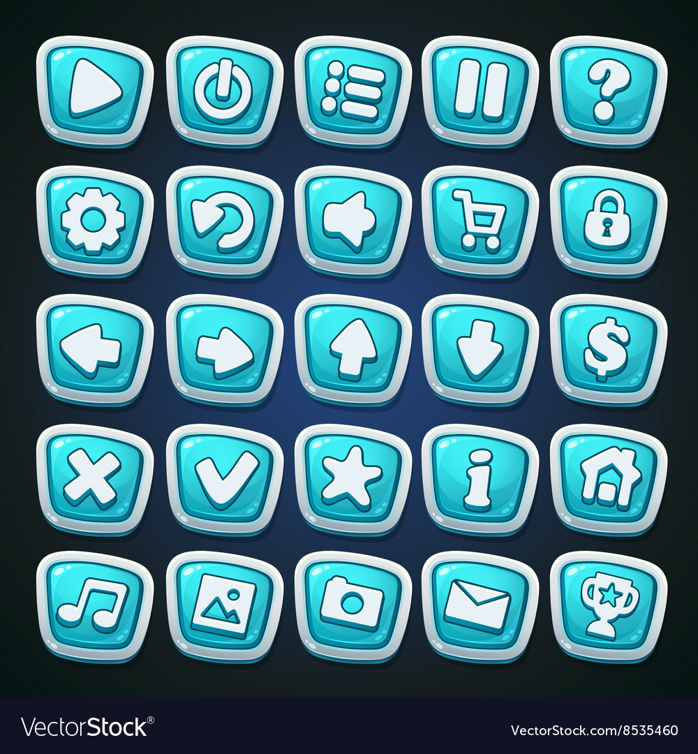 Comic cartoon buttons set