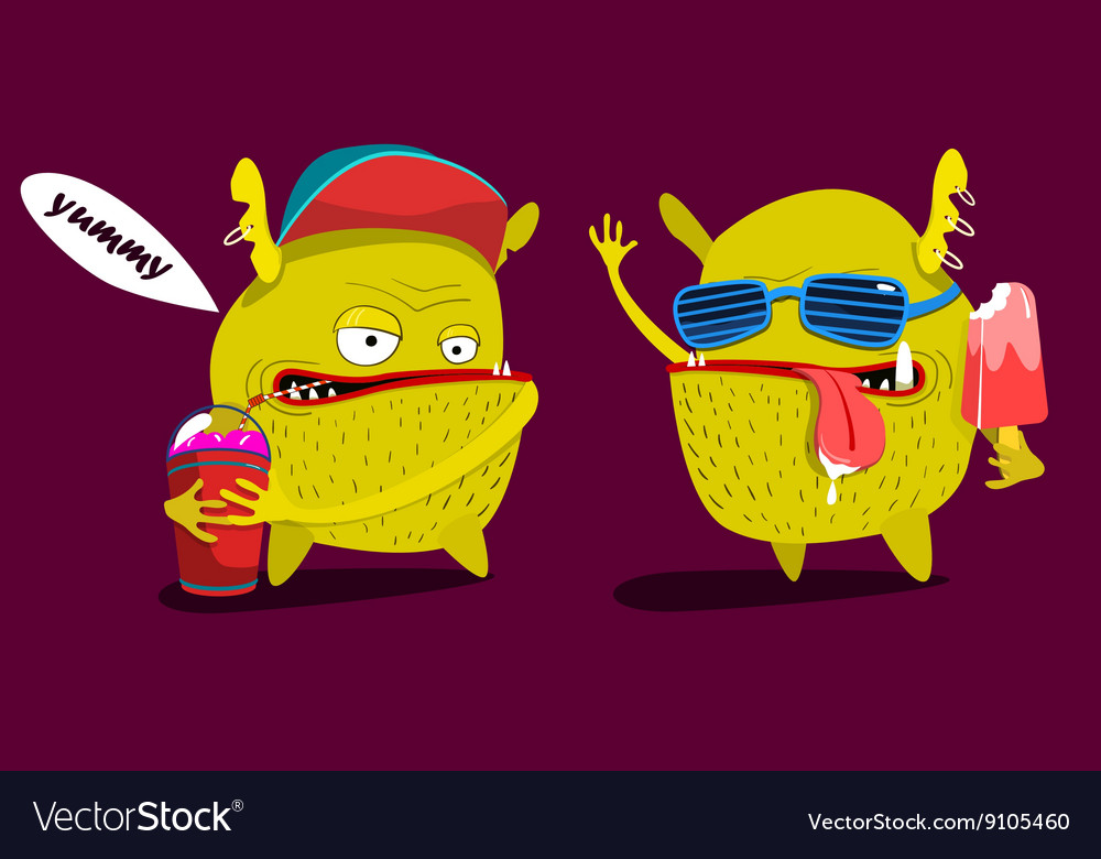 Cute monster set graphic yummy icecream and shake vector image