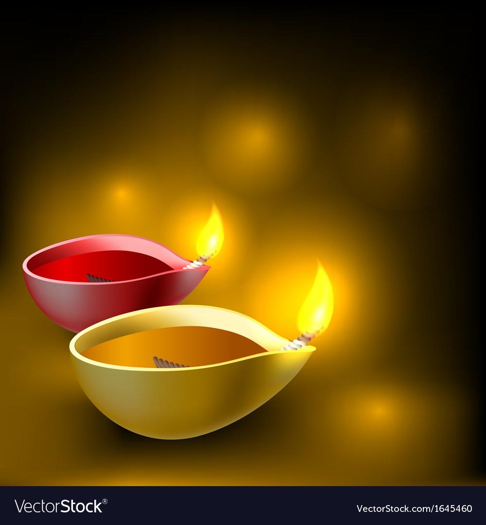 Diwali diya background vector image