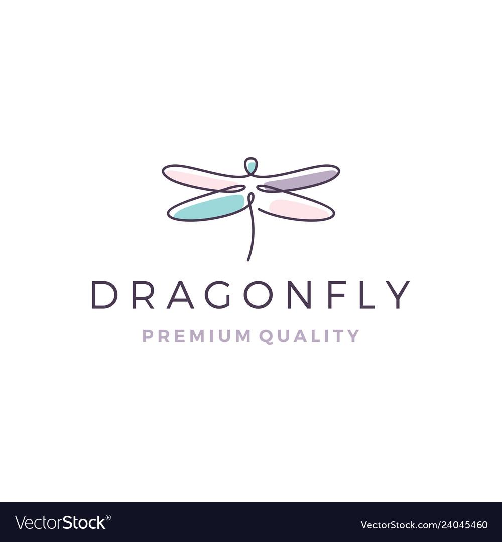 Dragonfly logo line outline monoline icon
