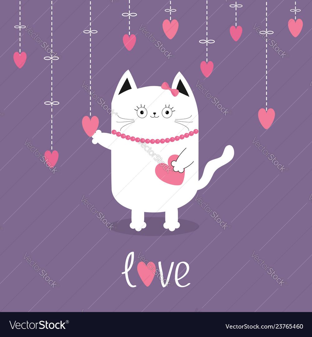 Happy valentines day white cat hanging pink