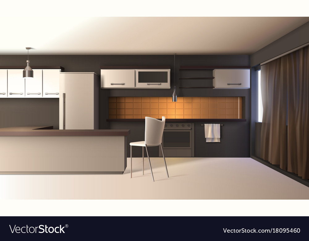 Modern Kitchen Realistic Interior Royalty Free Vector Image