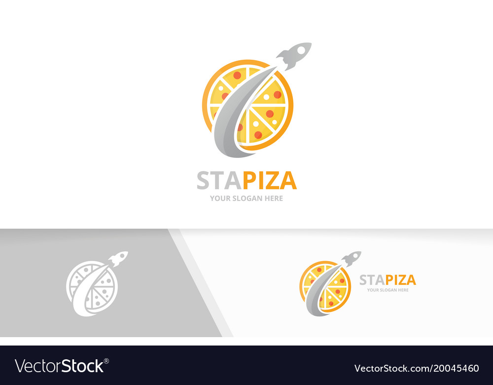 Pizza and rocket logo combination food and
