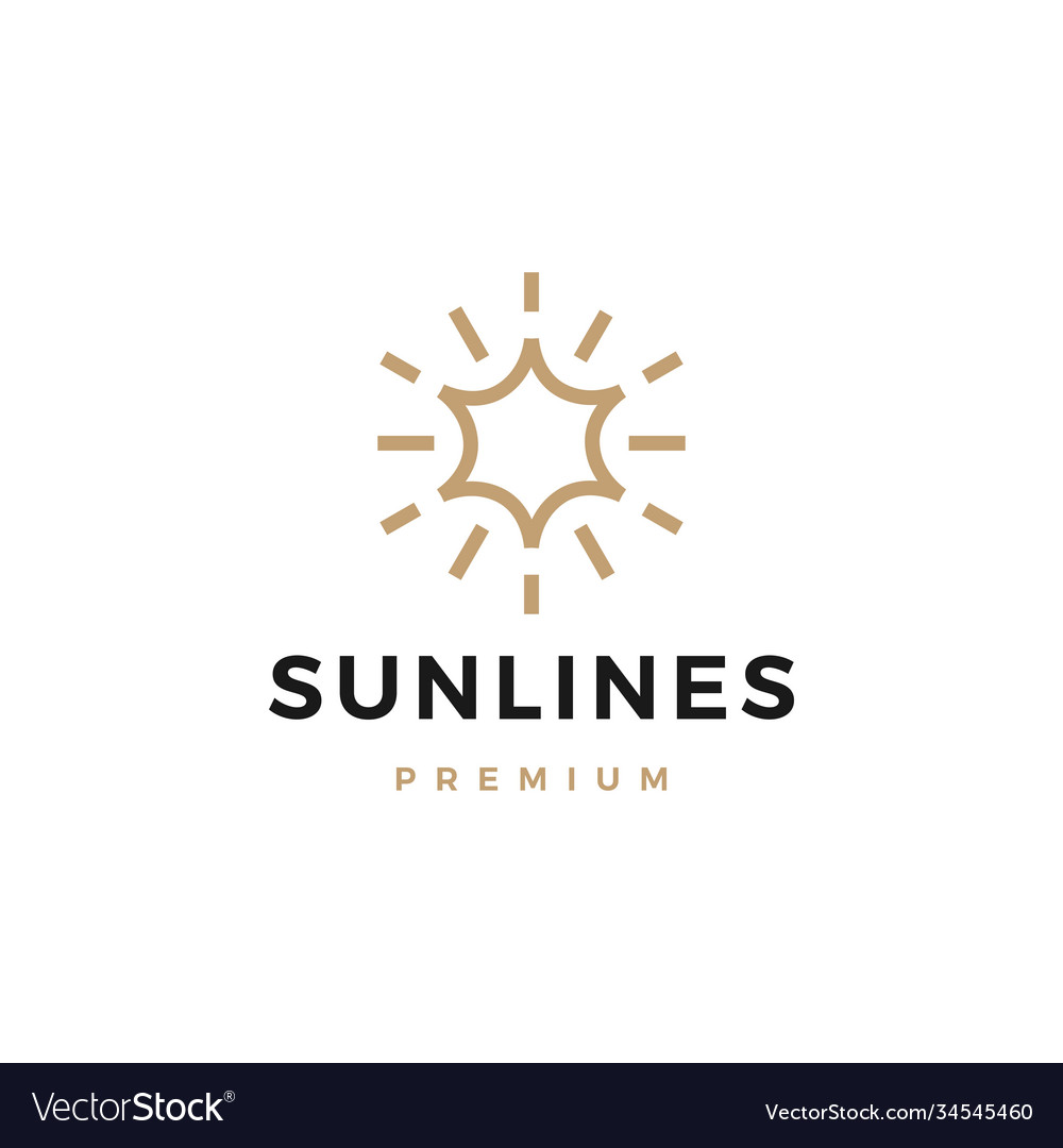 Sun line logo icon vector