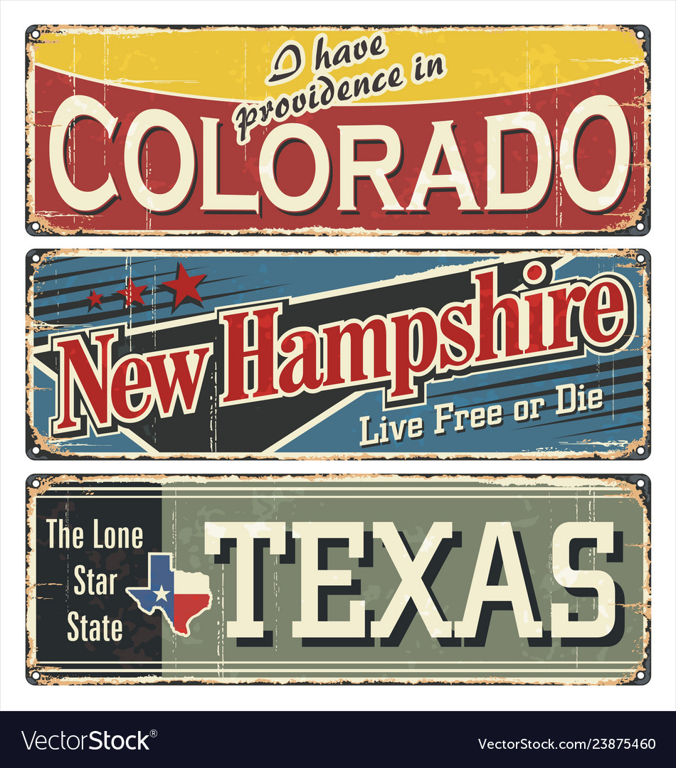 Vintage tin sign collection with usa