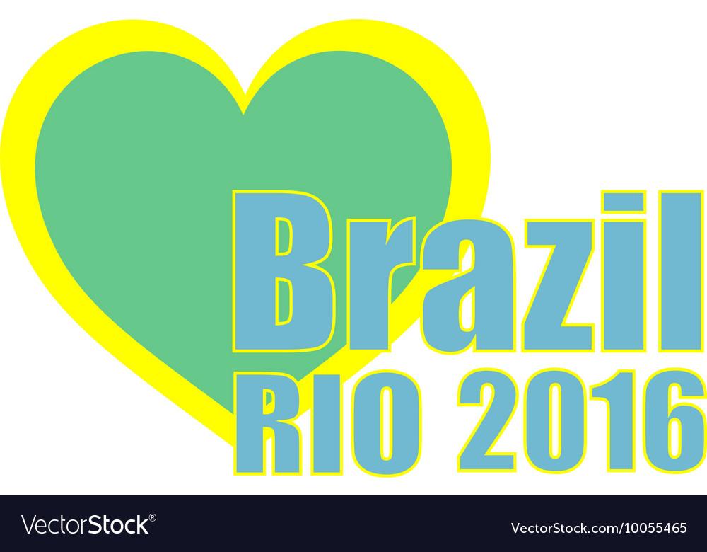 Abstract love heart ribbon flag Brazil Rio 2015