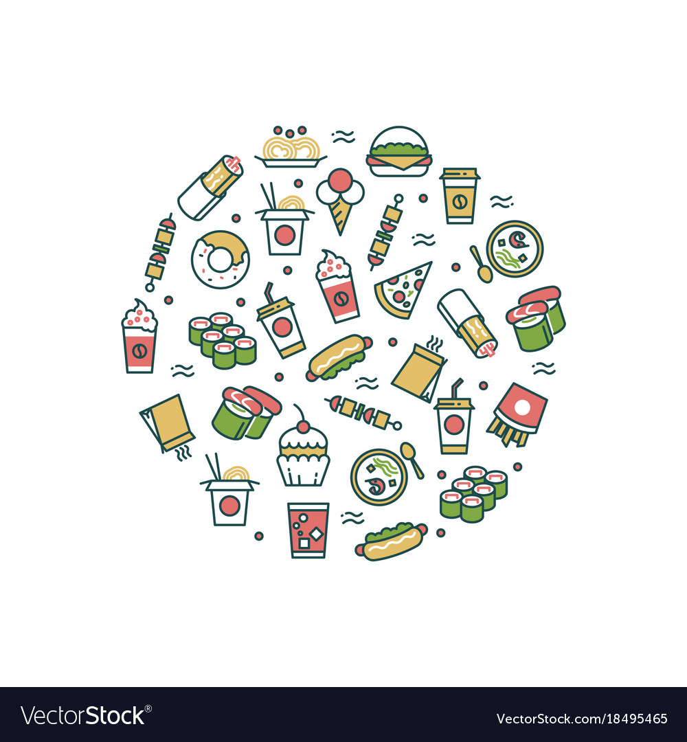 Asian fast food line icons concept