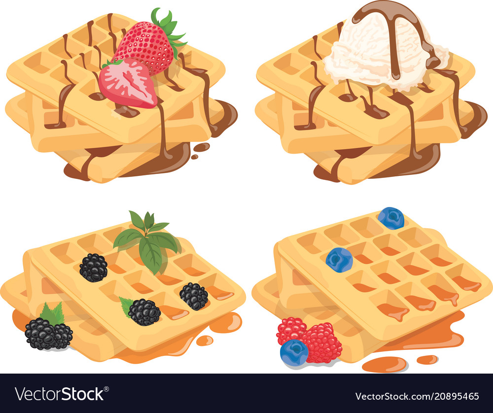 Collection of belgian waffles with fruit fillings