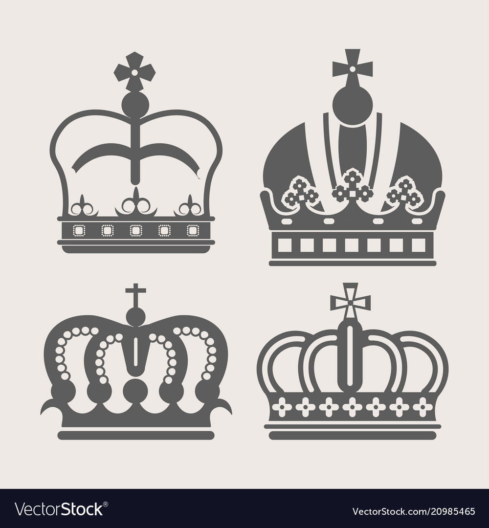 Crowns royal heraldic icons set