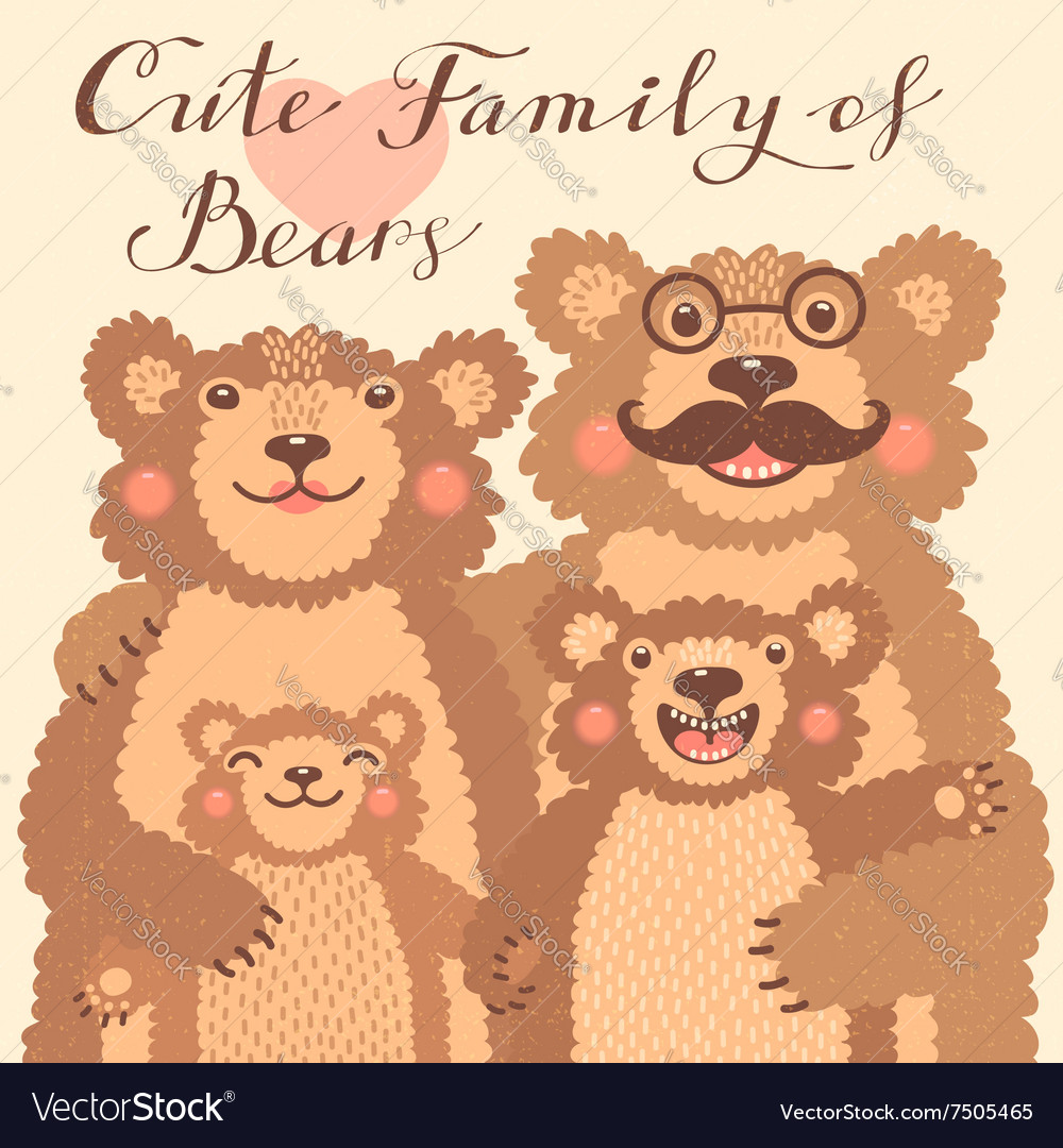 Cute card with a family of brown bears Dad hugs vector image