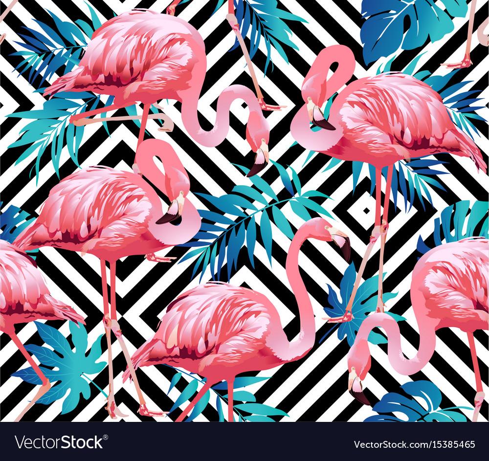 Flamingo bird and tropical flowers geometric