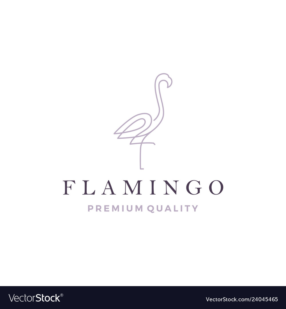 Flamingo logo line outline monoline icon