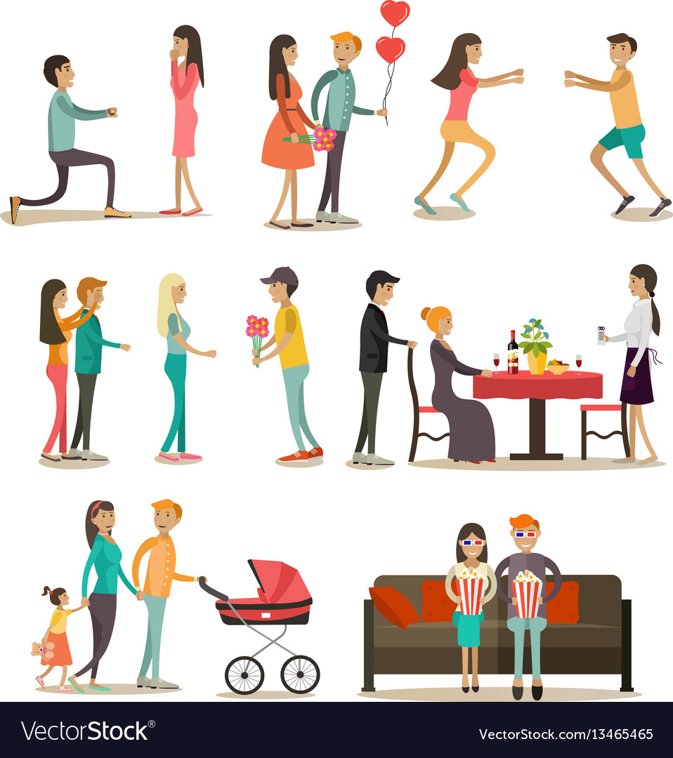 Flat icons set of people in love