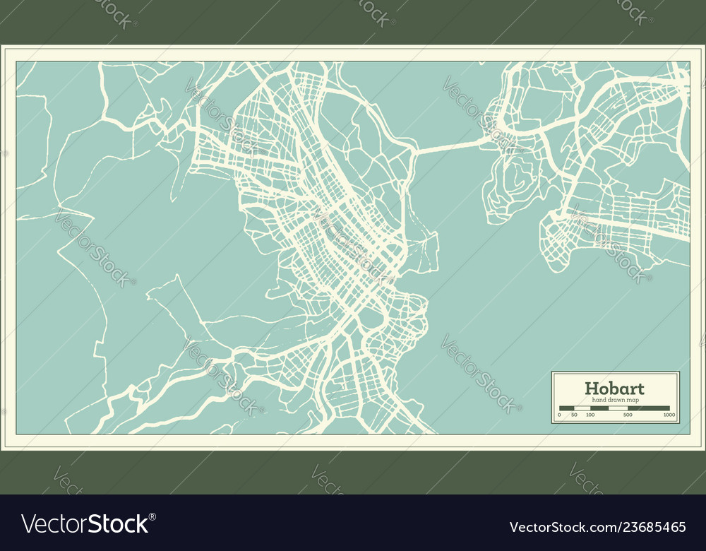 Australia Map Hobart.Hobart Australia City Map In Retro Style Outline