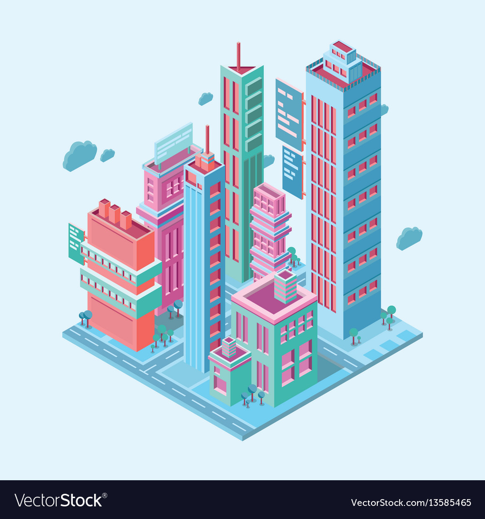 Isometric building megalopolis business city