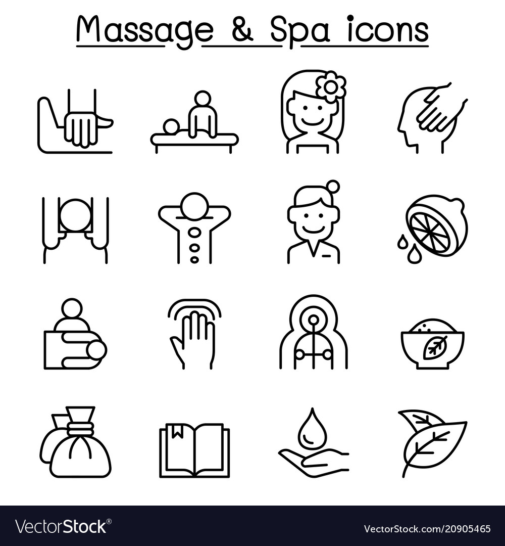 Massage spa icon set in thin line style