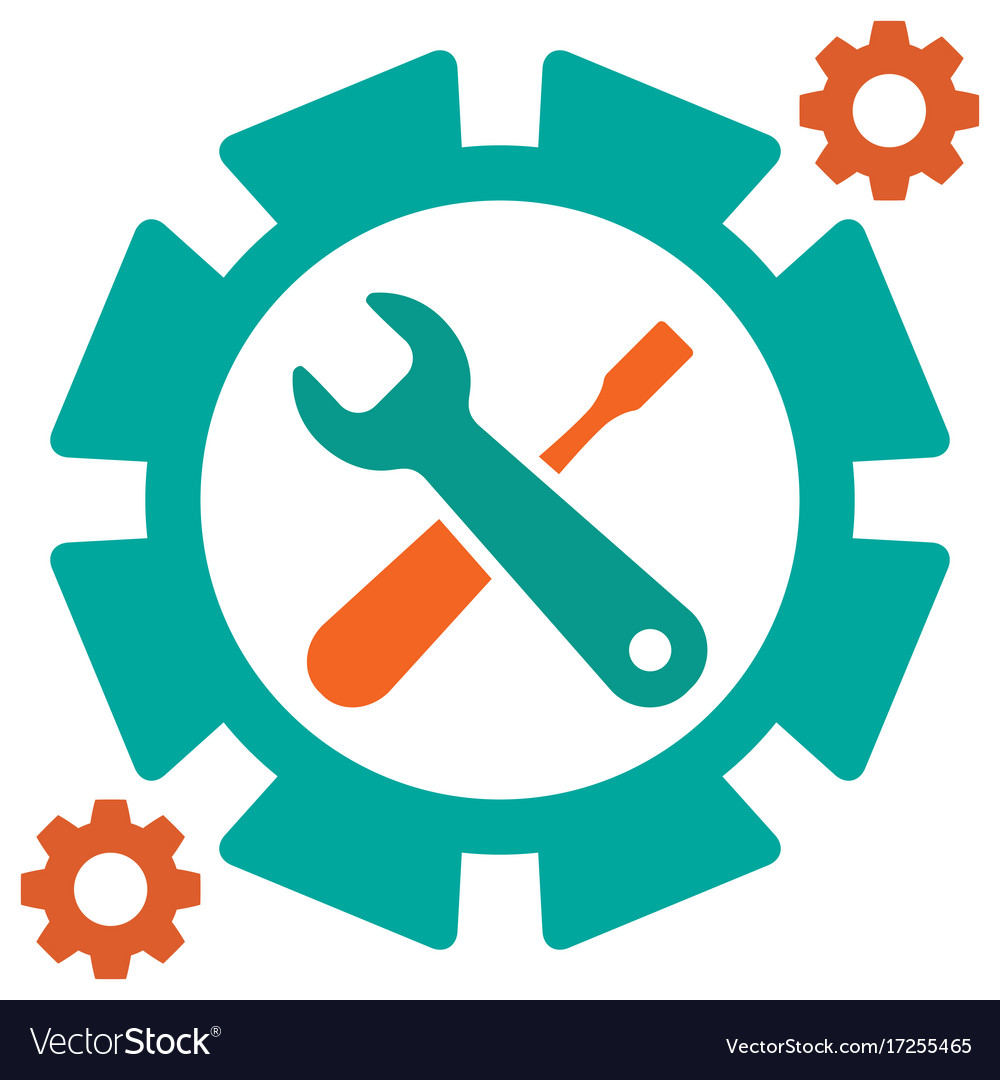 Service tool icons with gear and spanner