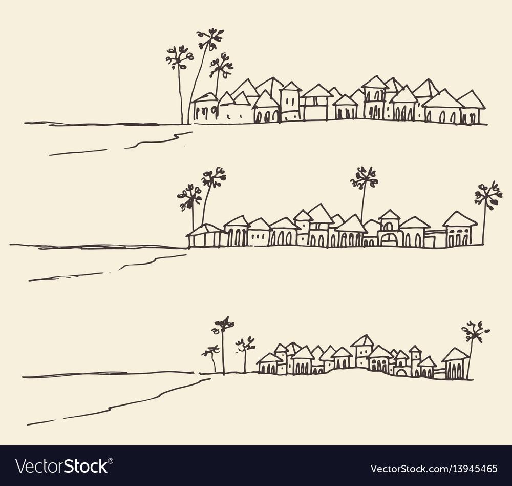Set sketches seaside view beach sketch vector image