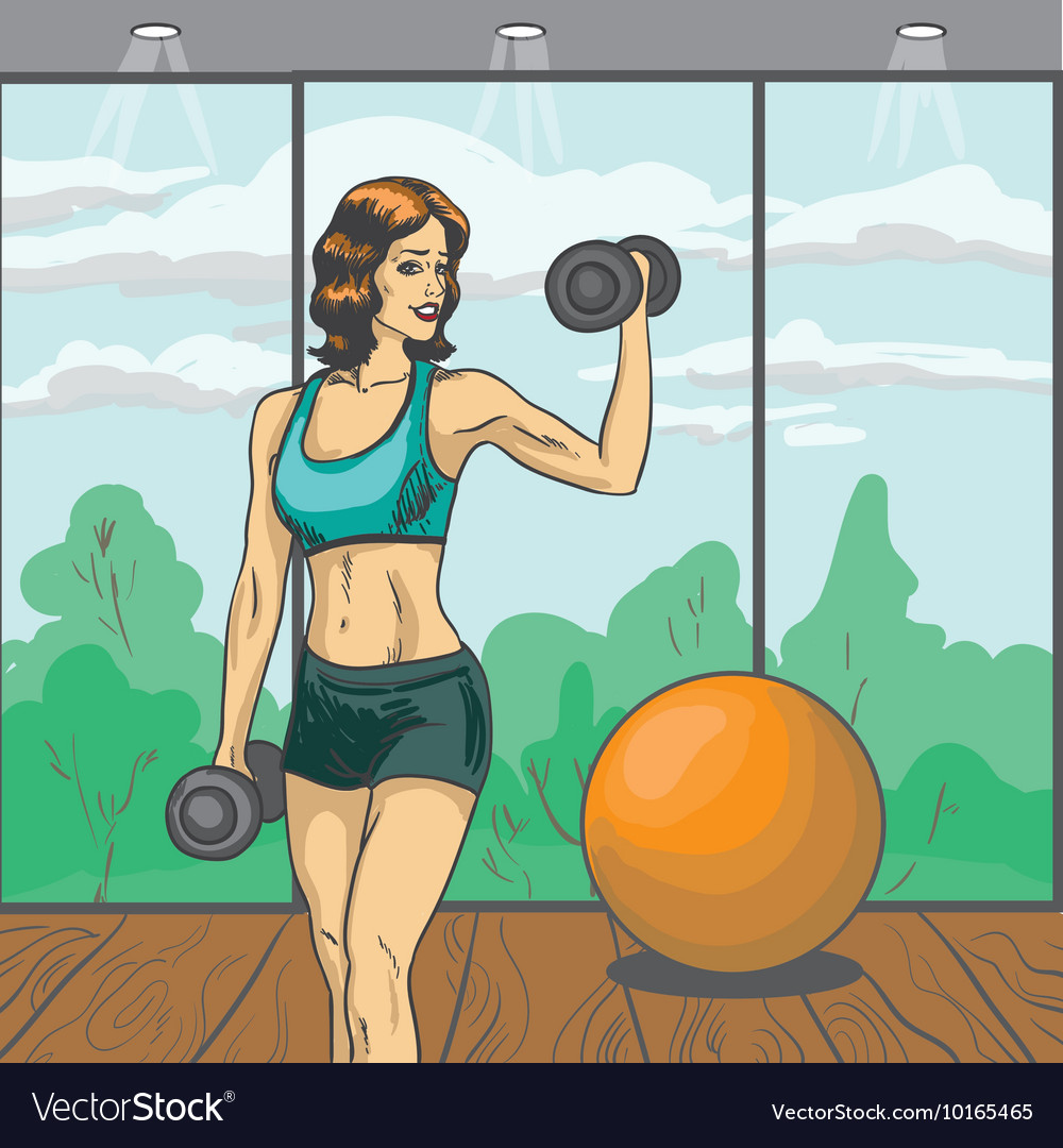 Woman with barbell in retro