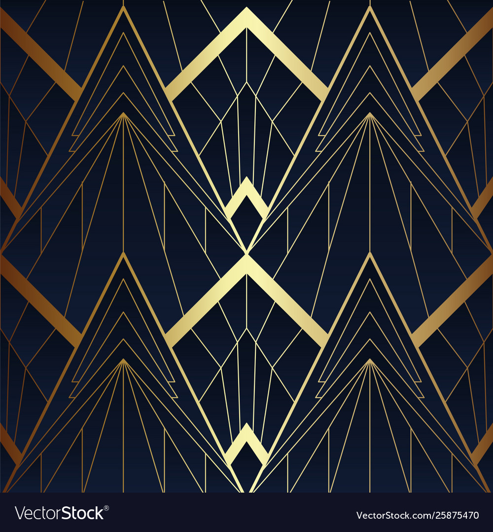 Abstract Art Deco Seamless Blue And Golden