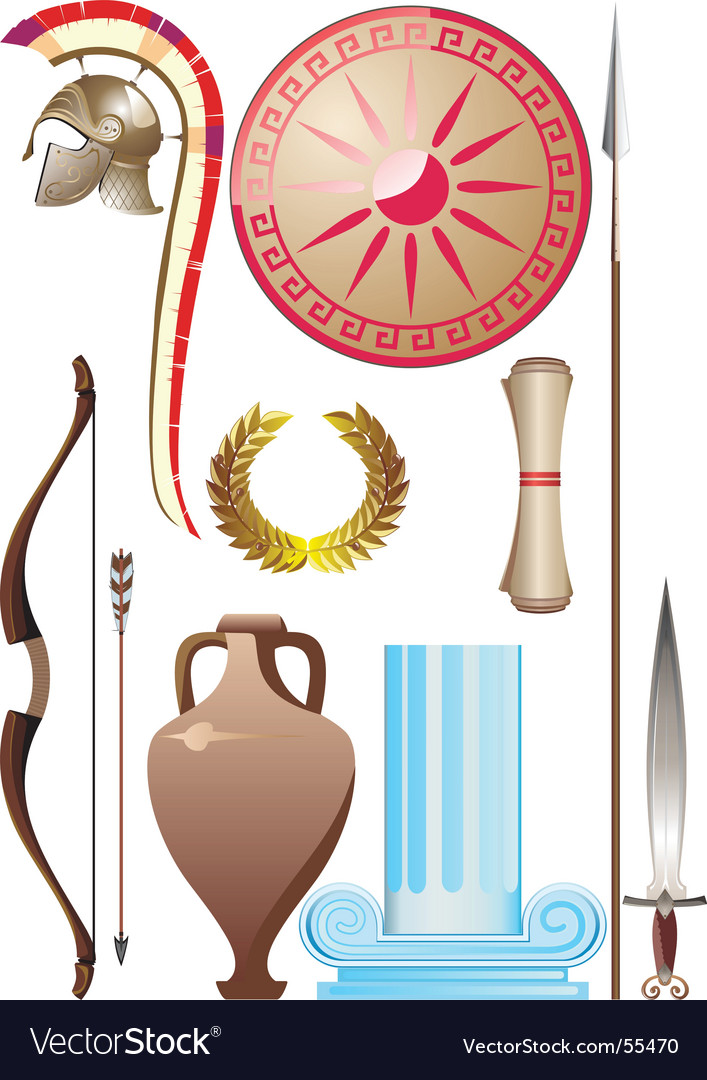 Ancient greece set vector image