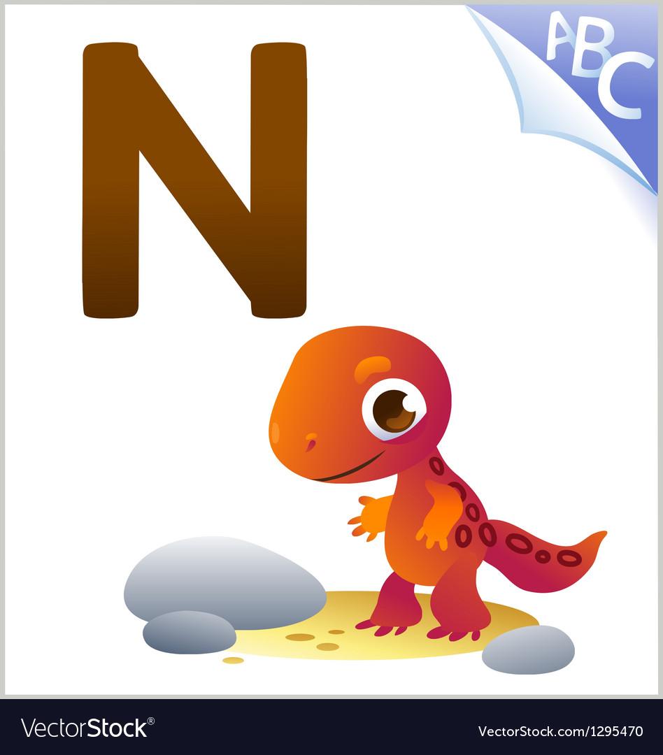Animal alphabet for the kids N for the Newt