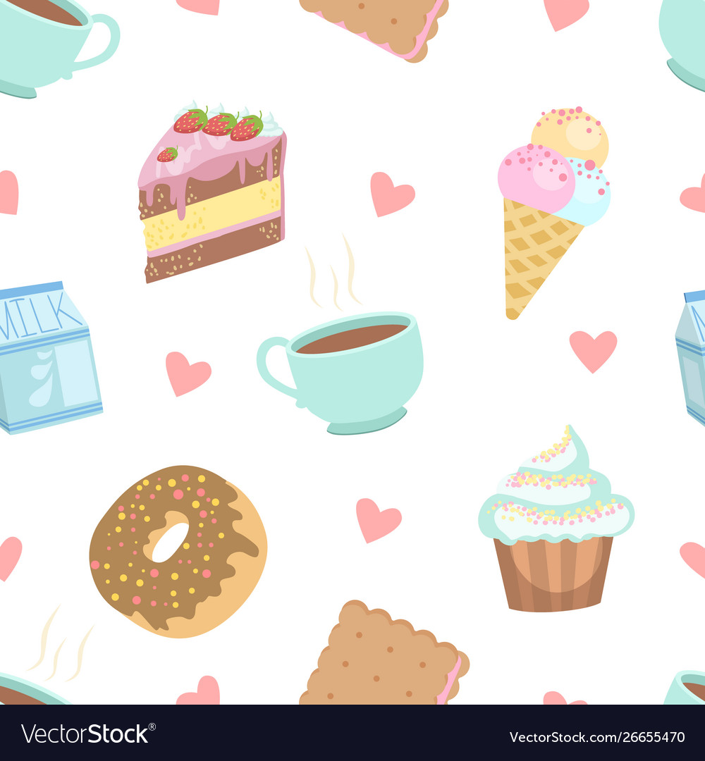 Cute desserts seamless pattern cake cupcake