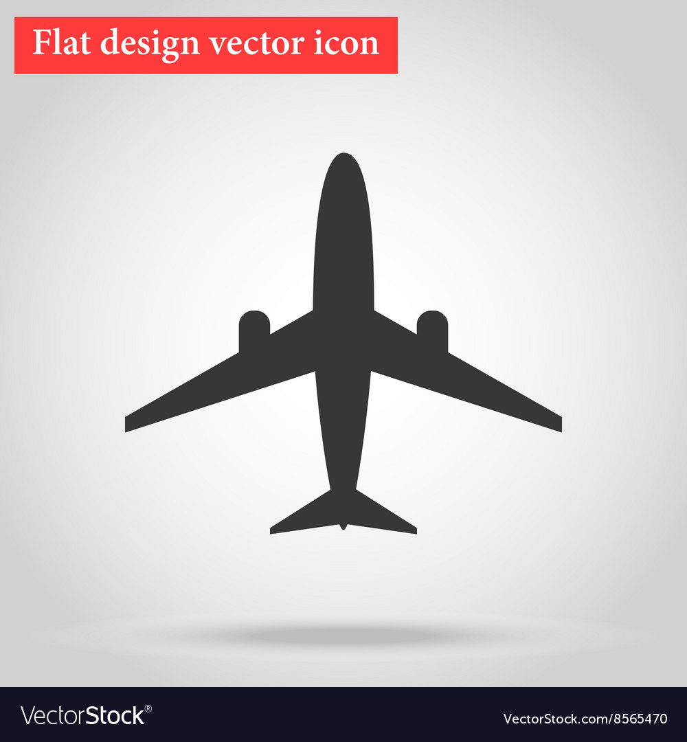 Flat design plane icon with shadow