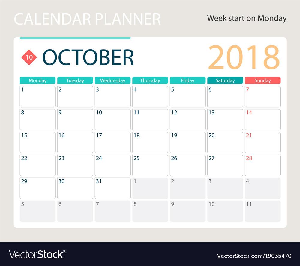 october 2018 calendar or desk vector image