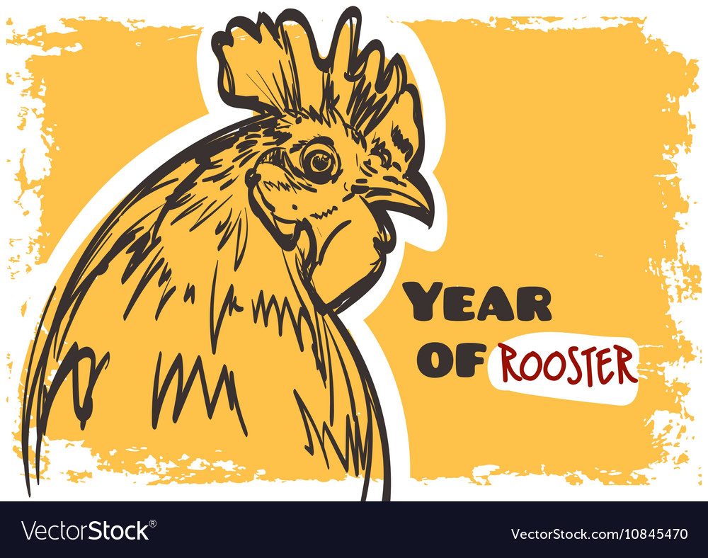 Rooster art Symbol of year 2017 on grunge