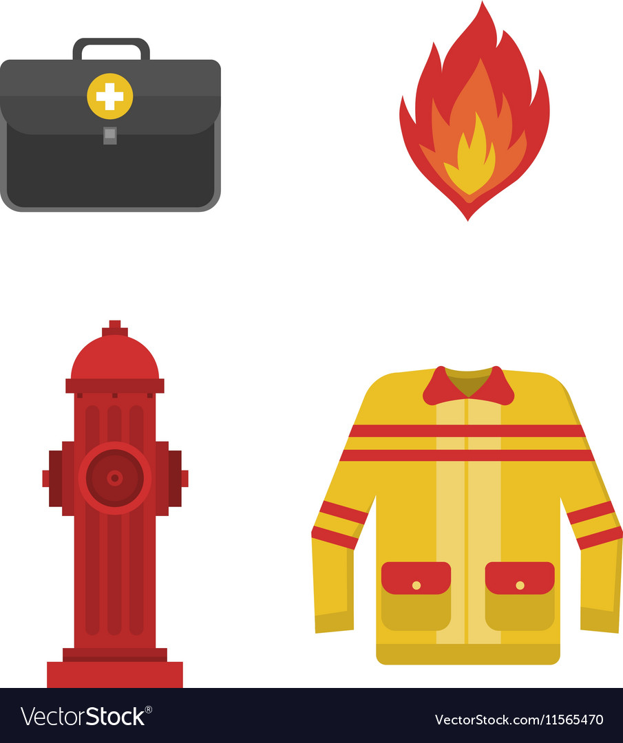 set firefighter fire safety icons royalty free vector image