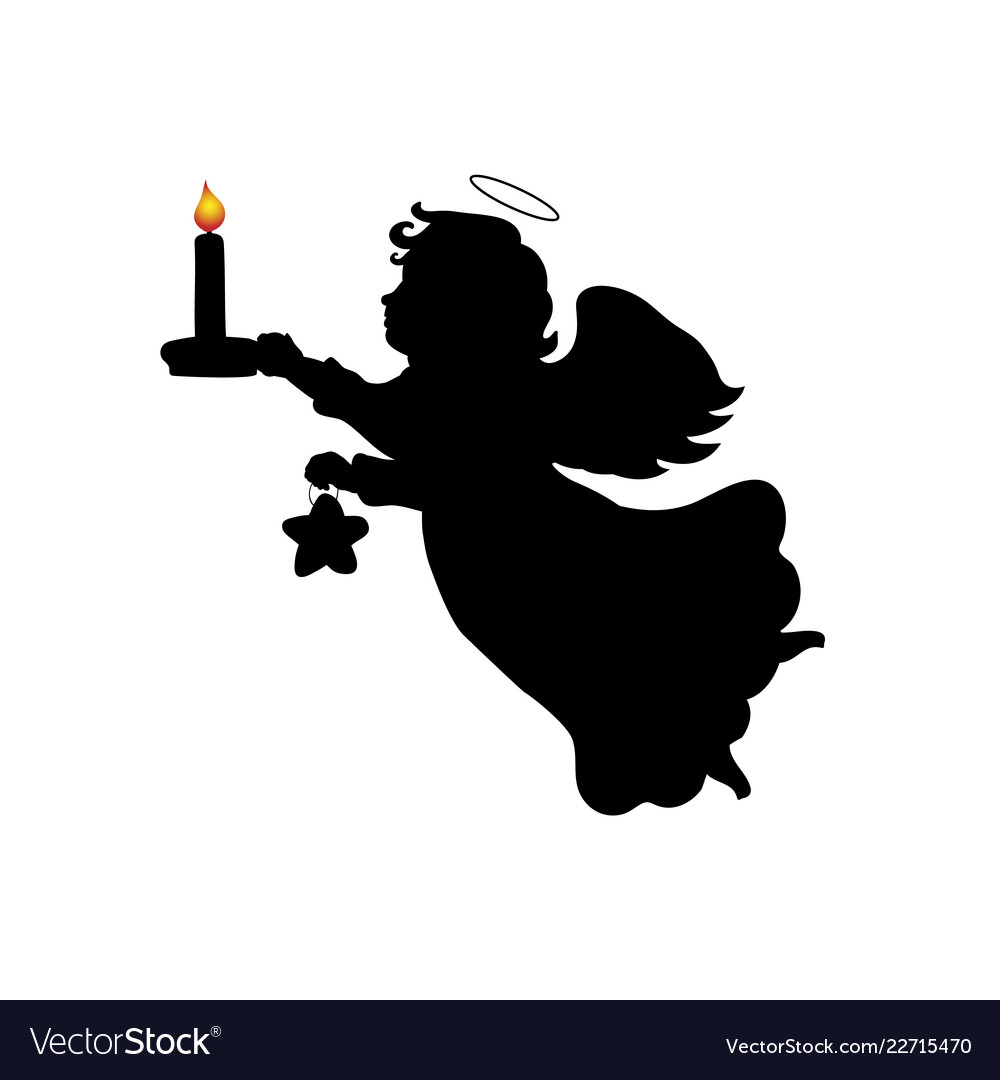 Christmas Star Silhouette.Silhouette Christmas Angel Candle Star