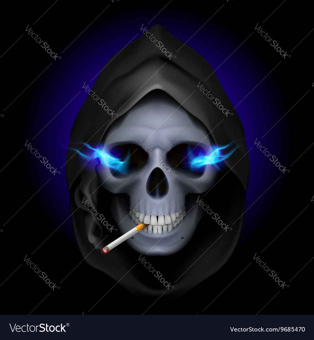 Smoking kills Skull death 03 vector image