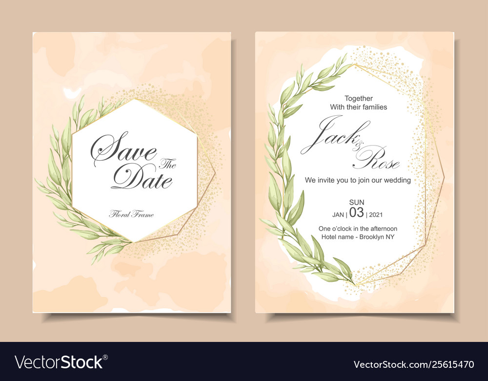 Vintage Wedding Invitation Cards With Watercolor