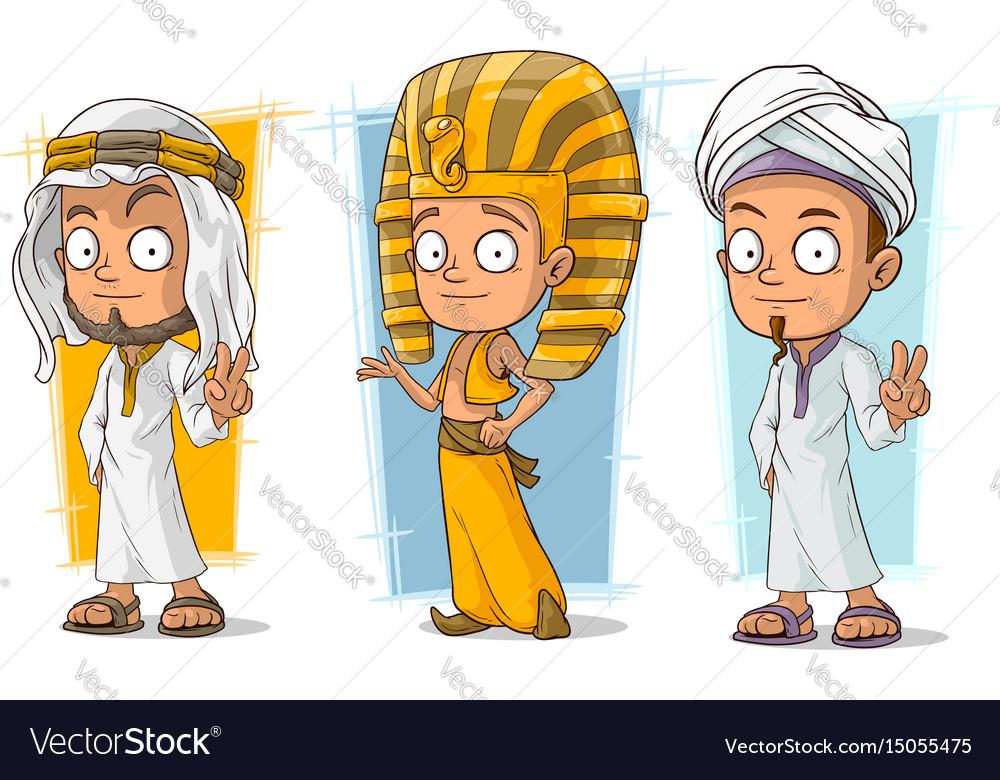 Cartoon arabian and egyptian character set vector image